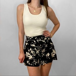 Floral Print Shorts With Front Tie